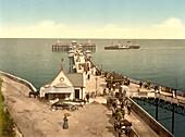 Iron Pier, Llandudno, Wales, Photochrome Print, circa 1901