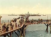 Crowd of People on Jetty, Margate, England, Photochrome Print, circa 1901