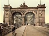 Rhine Bridge, Mannheim, Baden, Germany, Photochrome Print, circa 1901
