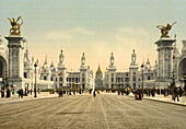 Avenue Nicholas II, looking towards the Dome of the Invalides, Exposition Universal, Paris, France, Photochrome Print, circa 1901