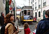 Tram in the Alfama, Lisbon, Portugal
