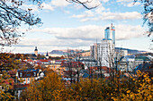 Jena with Jentower in autumn, Thuringia, Germany, Europe