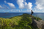view from the highest point on Dravuni Island, Fiji, with MS Oosterdam in the background