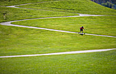 Adam Welch skateboards down a hill in Gas Works park in Seattle Washington