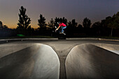 Local BMX rider Colton Johnson riding Draper Skatepark in Utah