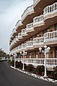 Hotel architecture at Playa de Las Americas, Los Cristianos, Tenerife, Canary Islands, Spain