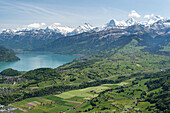 Lake Thun with Wetterhorn, Schreckhorn, Lauteraarhorn, Eiger, Mönch and Jungfrau, Bernese Oberland, canton of Bern, Switzerland