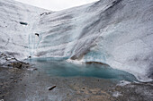 Glacial lake on Morteratsch Glacier, Central Eastern Alps, canton of Grisons, Switzerland