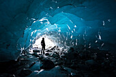 An ice cave inside the Morteratsch Glacier, Central Eastern Alps, canton of Grisons, Switzerland