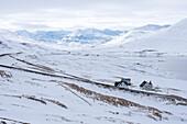View of some houses near Miklavatn, Tröllaskagi or in English Troll Peninsula, Iceland