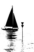 Silhouette, a sailing boot passes a navigational sign on the Elbe, Hamburg, Germany