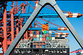 Loading and unloading of a big container vessel in the container terminal Burchardkai, Hamburg, Germany