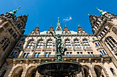 The Hygieia fountain in the inner courtyard of the in the historical style of the neorenaissance built Hamburg city hall, Hamburg, Germany