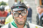 Muddy goggles after the race. Eroica is a cycling event that takes place since 1997 in the province of Siena with routes that take place mostly on dirt roads with vintage bicycles. Usually it held on the first Sunday of October.
