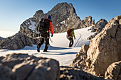 Professional highline athlete Reinhard Kleindl and his crew on a special alpine highline project in the Austrian alps. This project is set almost at 3000 meters above see level. The project involves a difficult climbing access as well as special rigging s
