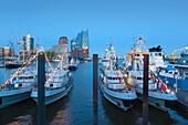 View over naval vessels to the Elbphilharmonie, Hamburg, Germany