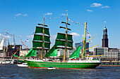 Sailing ship Alexander von Humboldt II, Hafengeburtstag, view to the Elbphilharmonie, Hamburg, Germany