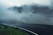 Timmelsjoch mountain pass near the border to Italy on a rainy morning, Oetztal Alps, Austria