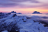 View from top of the Lagazuoi, near the Refugio Lagazuoi, mountain hut, located in the area of the Falzarego mountain pass, Bellunesi Dolomites, Unesco world heritage, Italy