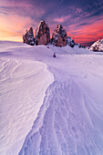 Tre Cime di Lavaredo, Sexten Dolomites on a colorful morning, near the Dreizinnen mountain hut, Unesco world heritage, Italy