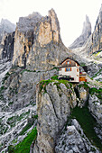 Preuss mountain hut, Rosengarten mountain range, Dolomites, Unesco world heritage, Italy