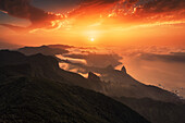 View from Macizo de Anaga mountain range in a south-westerly direction at sunset, Tenerife, Canary Islands, Spain