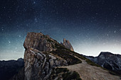 Geisler Group at night, seen from Seceda, Dolomites, Unesco world heritage, South Tyrol, Italy