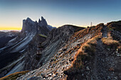 Seceda and Geisler Group in the early morning, Dolomites, Unesco world heritage, South Tyrol, Italy