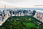 Aerial view of Central Park in New York City cityscape, New York, United States