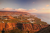 View from Mirador El Time over the west coast to Cumbre Mountains, La Palma, Canary Islands, Spain, Europe