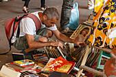 flea market, antiques market, market hall Nous Encants, Barcelona, Catalunya, Catalonia, Spain, Europe