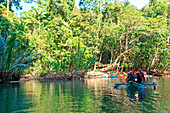 Puerto Princesa, Philippines. Visitors enter the Subterranean River in Puerto Princessa.The Underground River is one of the New 7 Wonders of Nature.