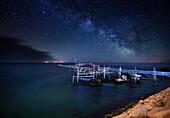 Trabocco fishing sistem by night in Abruzzo coast, Italy