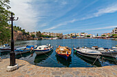 Boats moored in the port of Agios Nikolaos, Crete, Greece
