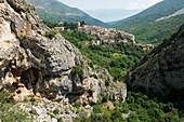 view to the mountain village of Anversa degli Abruzzi