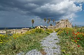 Ruins of Ayios Philon Kirche, Dipkarpaz, overlooking the sea, Karpaz Peninsula, North Cyprus