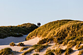 A couple in the extensive dunes during a stroll, Amrum, Schleswig Holstein, Germany