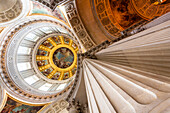 The interior view, gold plated dome, invalid cathedral, Dome des Invalides oder Eglise du Dome, monument of Napoleon, Paris, France