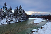 View over the Isar river to the Wetterstein range, near Kruen, Bavaria, Germany