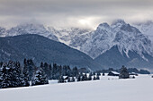 Haystack at the Buckelwiesen, near Kruen, view to Karwendel range, Bavaria, GermanyHay
