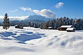 Haystack at the Buckelwiesen, near Kruen, view to Wetterstein range, Bavaria, Germany