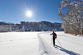 Cross-country skiing, near Kruen, Bavaria, Germany