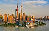 China, Shanghai City, Pudong Skyline, ,Oriental Pearl, World Financial Center and Shanghai Towers, Huangpu River.