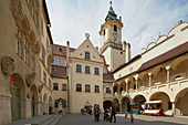 Yard of the old Town Hall at Bratislava (Pressburg) on the river Danube , Slovakia , Europe