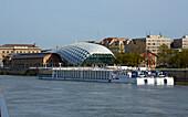 Budapest , Uferpromenade mit Wal , Zentrum für Kultur und Wirtschaft und Tourismus in Pest , Donau , Ungarn , Europa