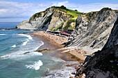 ´Flysch´ rock strata, Itzurun beach, Zumaia, Guipuzcoa, Basque Country, Spain.