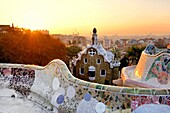 Parc Güell. Garden complex with architectural elements situated on the hill of el Carmel. Designed by the Catalan architect Antoni Gaudí and built in the years 1900 to 1914. UNESCO World Heritage. La Salut quarter. Gràcia district of Barcelona. Catalonia,