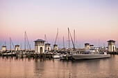 The new Gulfport Marina and Harbor were rebuilt in 2013 after its destruction by Hurricane Katrina, on Gulf of Mexico in Biloxi, Mississippi.