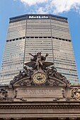 Looking up at the Met Life Building built over Grand Central Station in Mid town Manhattan.