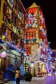 Restaurants at night on Christmas time Strasbourg Alsace France.
